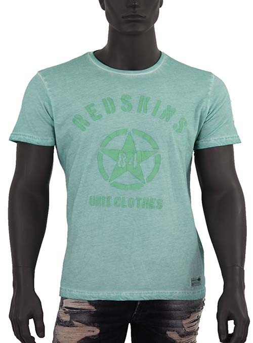 Tee Shirt Redskins, Vert amande, Manches courtes, col rond